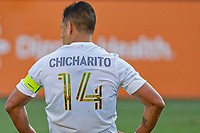 CARSON, CA - JUNE 19: Javier Hernandez #14 of the Los Angeles Galaxy during a game between Seattle Sounders FC and Los Angeles Galaxy at Dignity Health Sports Park on June 19, 2021 in Carson, California.