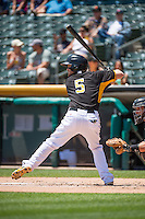 Ryan Jackson (5) of the Salt Lake Bees at bat against the Albuquerque Isotopes in Pacific Coast League action at Smith's Ballpark on June 28, 2015 in Salt Lake City, Utah.  The Isotopes defeated the Bees 8-3.(Stephen Smith/Four Seam Images)