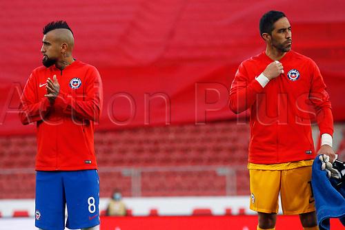 13th November 2020; National Stadium of Santiago, Santiago, Chile; World Cup 2020 Football qualification, Chile versus Peru;  Arturo Vidal and Claudio Bravo of Chile during their anthem