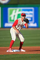 Clearwater Threshers second baseman Scott Kingery (31) during a game against the Dunedin Blue Jays on April 8, 2016 at Bright House Field in Clearwater, Florida.  Dunedin defeated Clearwater 8-3.  (Mike Janes/Four Seam Images)