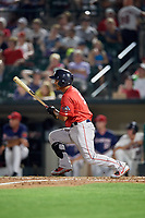 Pawtucket Red Sox shortstop Tzu-Wei Lin (5) follows through on a swing during a game against the Rochester Red Wings on July 4, 2018 at Frontier Field in Rochester, New York.  Pawtucket defeated Rochester 6-5.  (Mike Janes/Four Seam Images)