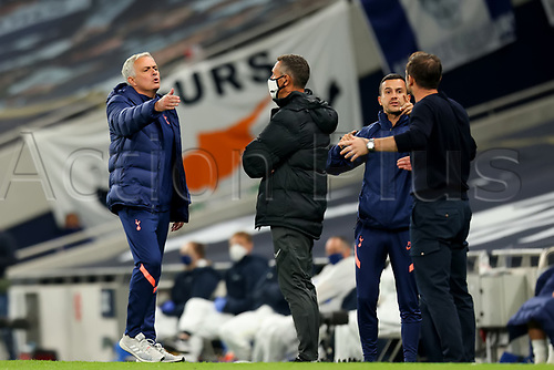 29th September 2020; Tottenham Hotspur Stadium, London, England; English Football League Cup, Carabao Cup, Tottenham Hotspur versus Chelsea; Tottenham Hotspur Manager Jose Mourinho has an altercation with Chelsea Manager Frank Lampard