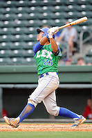 Designated hitter Alfredo Escalera (26) of the Lexington Legends bats in a game against the Greenville Drive on Sunday, April 27, 2014, at Fluor Field at the West End in Greenville, South Carolina. Greenville won, 21-6. (Tom Priddy/Four Seam Images)