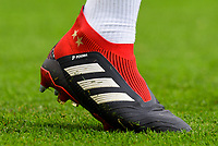 Paul Pogba of Manchester United (6) wearing 'adidas Paul Pogba' boots during the Premier League match between Brighton and Hove Albion and Manchester United at the American Express Community Stadium, Brighton and Hove, England on 19 August 2018. Photo by Edward Thomas / PRiME Media Images.