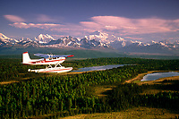 Cessna 180 float plane Flying To Mt Mckinley Southcentral Ak Summer