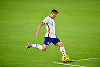 ORLANDO CITY, FL - JANUARY 31: Aaron Herrera #2 of the United States passes off the ball during a game between Trinidad and Tobago and USMNT at Exploria stadium on January 31, 2021 in Orlando City, Florida.