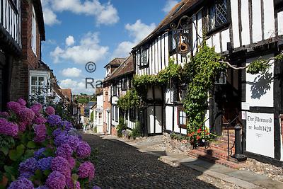 Great Britain, England, East Sussex, Rye: The Mermaid Inn, along Mermaid Street. Medieval Inn rebuilt in 1420