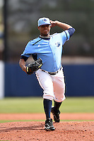 Charlotte Stone Crabs pitcher Jose Alberto Molina (25) delivers a pitch during a game against the Fort Myers Miracle on April 16, 2014 at Charlotte Sports Park in Port Charlotte, Florida.  Fort Myers defeated Charlotte 6-5.  (Mike Janes/Four Seam Images)