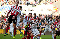 Saturday 19 October 2013 Pictured: Chico Flores eyes up the ball to make the header he eventualy scores from <br /> Re: Barclays Premier League Swansea City vSunderland at the Liberty Stadium, Swansea, Wales