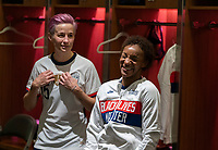 ORLANDO, FL - JANUARY 18: Crystal Dunn #19 of the USWNT laughs inside the locker room before a game between Colombia and USWNT at Exploria Stadium on January 18, 2021 in Orlando, Florida.