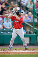Pawtucket Red Sox catcher Dan Butler (12) at bat during a game against the Rochester Red Wings on July 4, 2018 at Frontier Field in Rochester, New York.  Pawtucket defeated Rochester 6-5.  (Mike Janes/Four Seam Images)