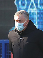 9th January 2021; Goodison Park, Liverpool, Merseyside, England; English FA Cup Football, Everton versus Rotherham United; Everton Manager Carlo Ancelotti looks on from the dugout