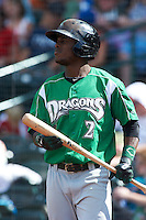 Dayton Dragons designated hitter Joe Terry #2 during a Midwest League game against the Fort Wayne TinCaps at Parkview Field on August 19, 2012 in Fort Wayne, Indiana.  Dayton defeated Fort Wayne 5-1.  (Mike Janes/Four Seam Images)