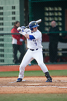 Kyle Grimm (7) of the Seton Hall Pirates at bat against the Cornell Big Red at The Ripken Experience on February 27, 2015 in Myrtle Beach, South Carolina.  The Pirates defeated the Big Red 3-0.  (Brian Westerholt/Four Seam Images)