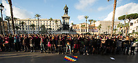 """Rome, 07/12/2019. Hundreds of women held a flash mob (1.) outside the Supreme Court of Cassation / Palazzo di Giustizia performing the song-performance """"Un violador en tu camino"""" of the Chilean feminist group Las Tesis. The aim of the flash mob was to protest gender-based violence against women, feminicides (Femminicidio), against patriarchy. Same flash mob were held in numerous cities across the globe, including Barcelona, Madrid, Oviedo, Paris, London, Bristol, Berlin, Bogotà, Mexico City. From an article published on the Manifesto newspaper (2.): «[…] Since the song was sung in a flash mob at the Plaza de Armas in Valparaíso, during the World Day Against Violence against Women of 25 November [3.], that same indictment directed against the State, against the system, against the agents of (in)security has always been repeated with the same powerful choreography in several Chilean cities, […]""""Patriarchy is a judge who judges us for being born. And our punishment is this violence"""", the women shout, pointing the finger, afterwards, against the policemen (los pacos, as they are popularly called in Chile), the judges, the state, the president (""""Y la culpa no era mía, ni dónde estaba ni cómo vestía. El violador eres tú""""). Of great impact in every place, the song, inspired by the texts of the Argentine Rita Segato (the one who gave life in Bolivia to the bitter feminist debate around the government of Evo Morales), naturally acquires a particular meaning in Chile, […] It is no coincidence that there were 88 complaints of sexual violence presented mainly against the carabineros, which are also explicitly called into question in the song where, by contrast, a fragment of their hymn that describes them in the act of supervising the """"sweet sleep"""" of the """"innocent girls""""».<br /> <br /> Footnotes & Links:<br /> 1.http://bit.do/fj2fD<br /> 2.(ilManifesto.it) http://bit.do/fj2fN<br /> 3.demo in Rome: http://bit.do/fj2ms<br /> Video (laRepubblica.it) http://bit.do/fj2hw<br /> http"""