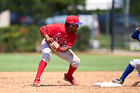 Philadelphia Phillies second baseman Uziel Viloria (23) throws to first base during an Extended Spring Training game against the Toronto Blue Jays on June 12, 2021 at the Carpenter Complex in Clearwater, Florida. (Mike Janes/Four Seam Images)