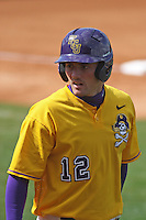 East Carolina University Pirates outfielder Jay Cannon #12 at bat during a game against the Stony Brook Seawolves at Clark-LeClair Stadium on March 4, 2012 in Greenville, NC.  East Carolina defeated Stony Brook 4-3. (Robert Gurganus/Four Seam Images)