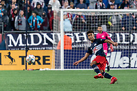 FOXBOROUGH, MA - AUGUST 4: Brando Bye #15 of New England Revolution passes the ball during a game between Nashville SC and New England Revolution at Gillette Stadium on August 4, 2021 in Foxborough, Massachusetts.