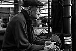 Trainer Neil Ferrara watching a sparring session at Gleason's Gym, Brooklyn, New York. 1999.<br />Photograph by Thierry Gourjon-Bieltvedt.