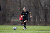 LOUISVILLE, KY - MARCH 13: Emily Fox #11 of Racing Louisville FC dribbles the ball during a game between West Virginia University and Racing Louisville FC at Thurman Hutchins Park on March 13, 2021 in Louisville, Kentucky.