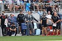 ST. PAUL, MN - AUGUST 21: Sport Kansas City head coach Peter Vermes during a game between Sporting Kansas City and Minnesota United FC at Allianz Field on August 21, 2021 in St. Paul, Minnesota.
