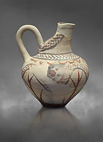 Cycladic cut away jug with floral and net pattern.   Cycladic (1650-1450 BC) , Phylakopi III, Melos. National Archaeological Museum Athens. Cat no 5757.   Gray background.<br /> <br /> <br /> This jug has a strainer in the spout with floral patterns. Ceramic shapes and painted style are heavily influenced by Minoan styles during this period. Dark floral and spiral patterns are painted over a lighted backgound with wavy bands.