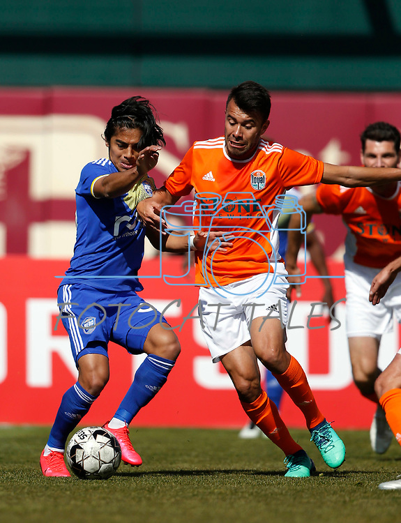 Reno 1868 midfielder Gilbert Fuentes plays against San Diego Loyal SC during a preseason match in Reno, Nev., on Saturday, Feb. 29, 2020. San Diego won 4-2. <br /> Photo by Cathleen Allison/Cathleen Allison Photography