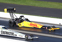 Jul 19, 2020; Clermont, Indiana, USA; NHRA top fuel driver Shawn Langdon during the Summernationals at Lucas Oil Raceway. Mandatory Credit: Mark J. Rebilas-USA TODAY Sports