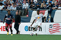 FOXBOROUGH, MA - JUNE 23: Kyle Duncan #6 of New York Red Bulls passes the ball during a game between New York Red Bulls and New England Revolution at Gillette Stadium on June 23, 2021 in Foxborough, Massachusetts.
