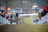 Pauline Ferrand-Prevot (FRA/Rabobank-Liv) & Sanne Cant (BEL/BKCP-Powerplus) battling for the lead<br /> <br /> Elite Women's Race<br /> <br /> 2015 UCI World Championships Cyclocross <br /> Tabor, Czech Republic
