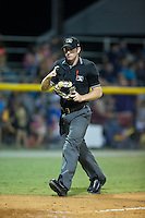 Home plate umpire Tom Hanahan during the Appalachian League game between the Greeneville Astros and the Burlington Royals at Burlington Athletic Park on August 29, 2015 in Burlington, North Carolina.  The Royals defeated the Astros 3-1. (Brian Westerholt/Four Seam Images)