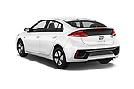Car pictures of rear three quarter view of a 2019 Hyundai Ioniq Hybrid Blue 5 Door Hatchback angular rear