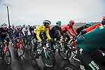 The peloton including race leader Yellow Jersey Maximilian Schachmann (GER) Bora-Hansgrohe during Stage 3 of the 78th edition of Paris-Nice 2020, running 212.5km from Chalette-sur-Loing to La Chatre, France. 10th March 2020.<br /> Picture: ASO/Fabien Boukla   Cyclefile<br /> All photos usage must carry mandatory copyright credit (© Cyclefile   ASO/Fabien Boukla)