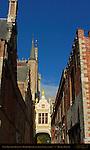 Blinde-Ezelstraat Blind Donkey Street, Rear of Town Hall Stadhuis, Burg Square, Bruges, Brugge, Belgium