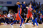 Robert Covington of 76ers (L) passes the ball during the NBA China Games 2018 match between Dallas Mavericks and Philadelphia 76ers at Universiade Center on October 08 2018 in Shenzhen, China. Photo by Marcio Rodrigo Machado / Power Sport Images