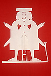 Hans Christian Anderson. Paper cut out figure by HCA in the HCA museum Odense Denmark.