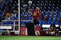 LAKE BUENA VISTA, FL - JULY 27: Justen Glad #15 of Real Salt Lake heads the ball during a game between San Jose Earthquakes and Real Salt Lake at ESPN Wide World of Sports on July 27, 2020 in Lake Buena Vista, Florida.