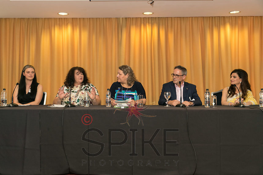 Panel speakers from left are Lucy Stanford, Nottingham BID, Penney Poyzer, Nottingham Good Food Partnership, Chair Deborah Labbate, Tom Waldron-Lynch, East Midlands Conference Centre & Orchard Hotel and Amita Sawhney, MemSaab Restaurant