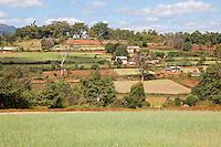 Myanmar, Burma.  Shan State Village and Farmland.