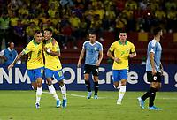 BUCARAMANGA - COLOMBIA, 06-02-2020: Pedrinho Pedro Delmino de Brasil celebra después de anotar el primer gol de su equipo durante partido entre Brasil U-23 Y Uruguay U-23 por el cuadrangular final como parte del torneo CONMEBOL Preolímpico Colombia 2020 jugado en el estadio Alfonso Lopez en Bucaramanga, Colombia. / Pedrinho Pedro Delmino of Brazil celebrates after scoring the first goal of his team during the match between Brazil U-23 and Uruguay U-23 for the final quadrangular as part of CONMEBOL Pre-Olympic Tournament Colombia 2020 played at Alfonso Lopez stadium in Bucaramanga, Colombia. Photo: VizzorImage / Jaime Moreno / Cont