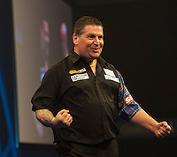 03.01.2015.  London, England.  William Hill PDC World Darts Championship.  Semi Final Round.  Gary Anderson (4) [SCO] celebrates the winning double in his match against Michael van Gerwen (1) [NED]. Gary Anderson won the match 6-3.