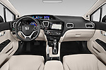 Stock photo of straight dashboard view of a 2015 Honda Civic CNG 4 Door Sedan