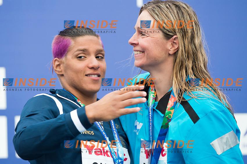 CUNHA Ana Marcela BRA gold medal and MAURER Angela GER bronze medal<br /> Open Water - Women's  25km <br /> Day 09 01/08/2015<br /> XVI FINA World Championships Aquatics Swimming<br /> Kazan Tatarstan RUS July 24 - Aug. 9 2015 <br /> Photo Giorgio Perottino/Deepbluemedia/Insidefoto