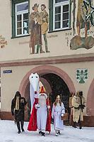 Europe/Allemagne/Bade-Würrtemberg/Forêt Noire/Haslach:  Défilé traditionnel avec l'âne: Biggeresel, coutume de la Saint Nicolas
