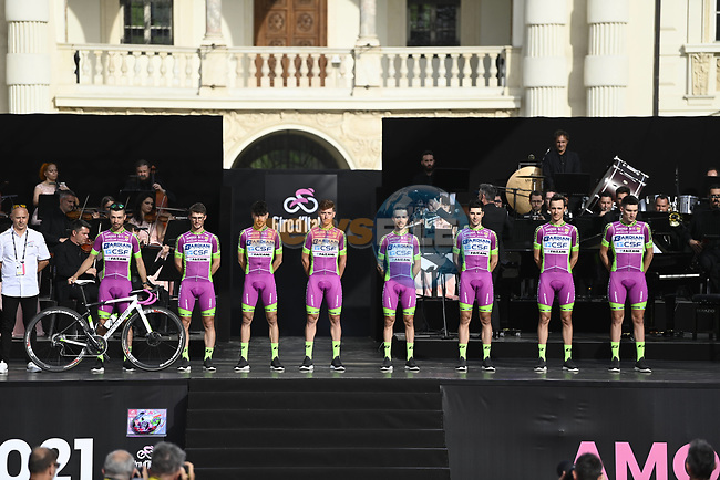 Bardiani CSF Faizane on stage at team presentation of the 2021 Giro d'Italia inside the Cortile d'Onore of the Castello del Valentino, on the occasion of the 160th anniversary of the Unification of Italy, Turin, Italy. 6th May 2021.  <br /> Picture: LaPresse/Fabio Ferrari | Cyclefile<br /> <br /> All photos usage must carry mandatory copyright credit (© Cyclefile | LaPresse/Fabio Ferrari)