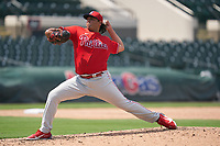 Philadelphia Phillies pitcher Jakob Hernandez (47) during a Minor League Spring Training game against the Detroit Tigers on April 17, 2021 at Joker Marchant Stadium in Lakeland, Florida.  (Mike Janes/Four Seam Images)
