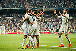 Gareth Bale (r) of Real Madrid celebrates with the teammates during their La Liga match at the Santiago Bernabeu Stadium between Real Madrid and RC Celta de Vigo on 27 August 2016 in Madrid, Spain. Photo by Diego Gonzalez Souto / Power Sport Images
