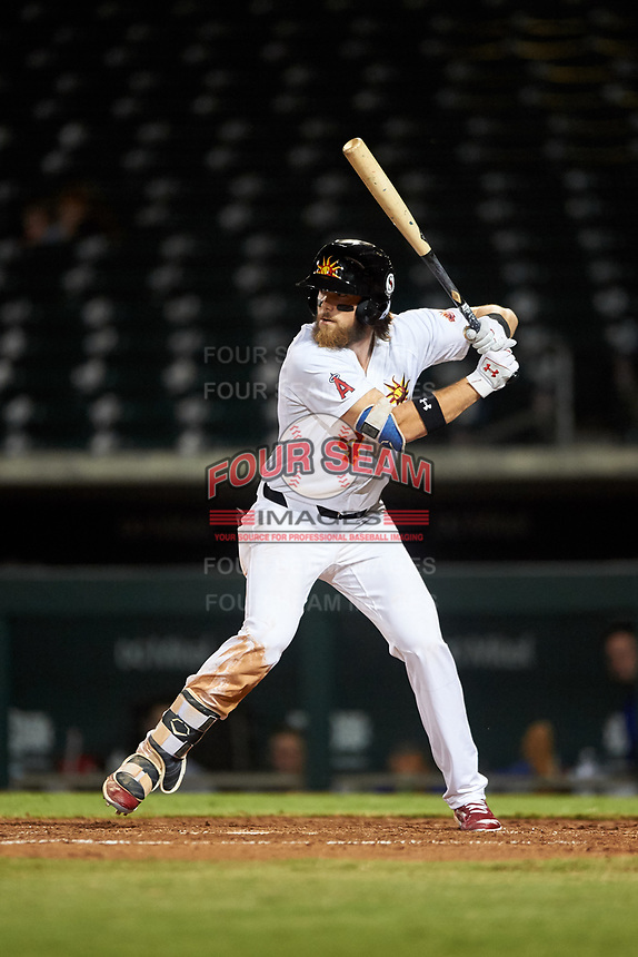 Mesa Solar Sox Brandon Marsh (4), of the Los Angeles Angels organization, at bat during an Arizona Fall League game against the Scottsdale Scorpions on September 18, 2019 at Sloan Park in Mesa, Arizona. Scottsdale defeated Mesa 5-4. (Zachary Lucy/Four Seam Images)