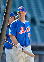 24 July 2012: New York Mets third baseman David Wright awaits his turn in the batting cage prior to a game against the Washington Nationals at Citi Field in Flushing, NY. The Nationals defeated the Mets 5-2 to take the second game of their 3-game series. Mandatory Credit: Ed Wolfstein Photo