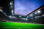 09.08.2019, Merkur Spiel-Arena, Düsseldorf, GER, DFB Pokal, 1. Hauptrunde, KFC Uerdingen vs Borussia Dortmund , DFB REGULATIONS PROHIBIT ANY USE OF PHOTOGRAPHS AS IMAGE SEQUENCES AND/OR QUASI-VIDEO<br /> <br /> im Bild | picture shows:<br /> die Merkur Spiel-Arena im Abendlicht, <br /> <br /> Foto © nordphoto / Rauch